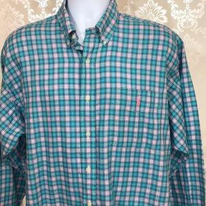 Men's Ralph Lauren Turquoise Plaid Button-Down